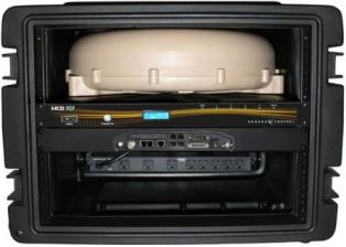 Cobham Explorer 727 BGAN Satellite Terminal, 19in Rack Mount ver. with Desert Sand Antenna